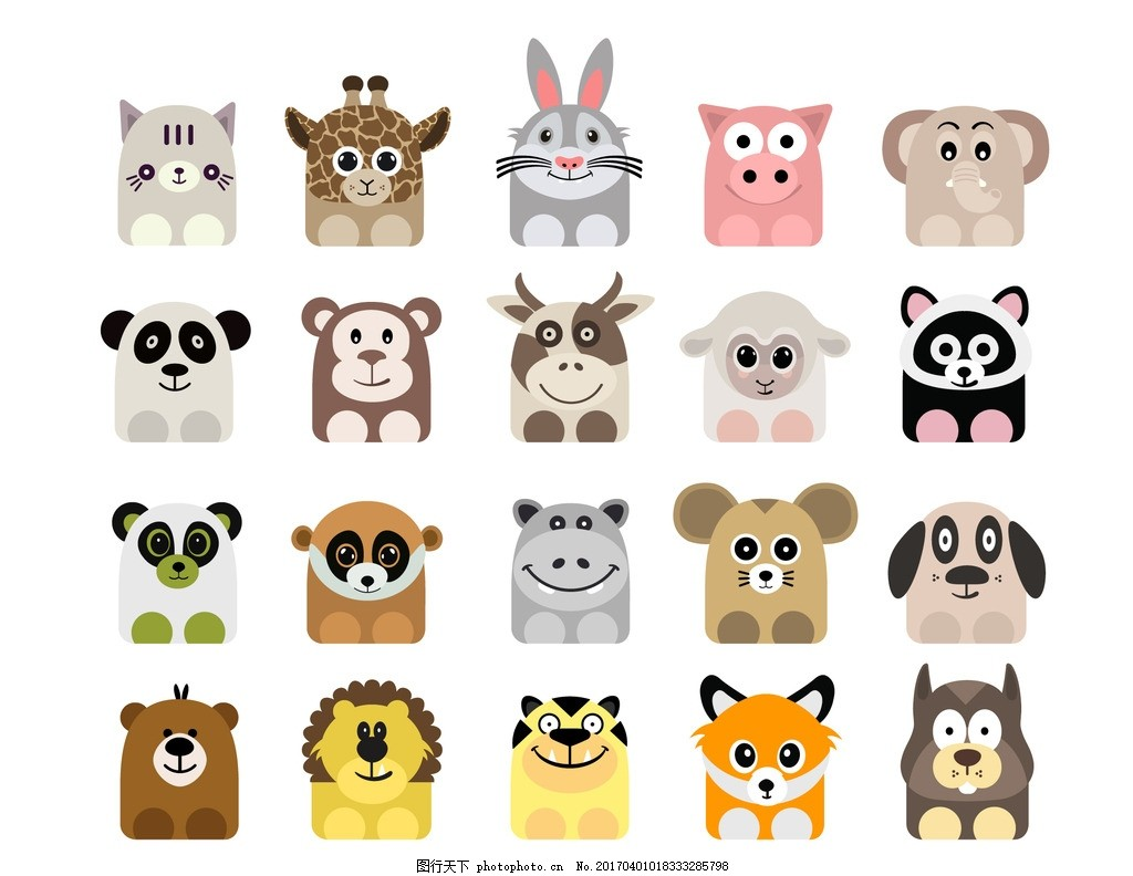 矢量小动物 扁平化动物 设计动物 动物头像 花纹 动漫动画图片