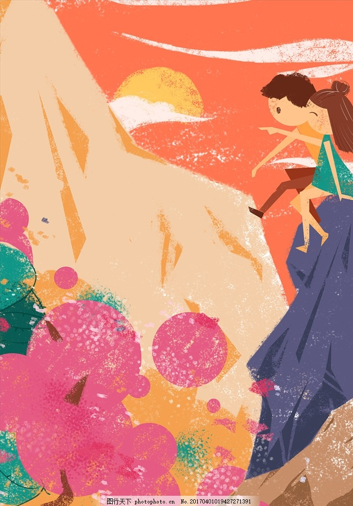 花海 手绘 插画 海报 背景 素材 春天 早春 踏青 春游 赏花 设计 文化