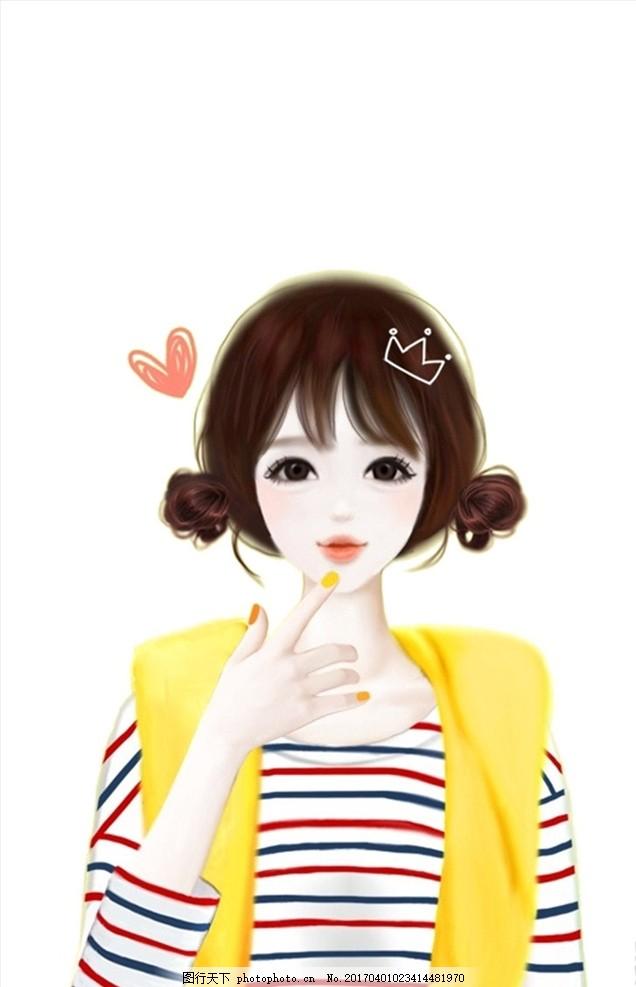 卡通美少女 手绘美少女 爱心美少女 美女 卡通美女 可爱女孩 卡通人物