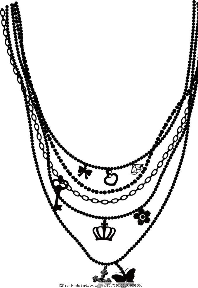 项链矢量图 服装装饰 服装矢量 手绘项链