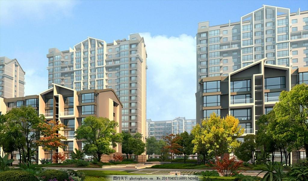 商业区规划图 沿街商业 多层住宅 中式建筑 鸟瞰图 别墅 psd 公共建筑
