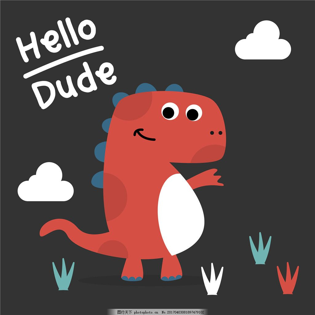 卡通恐龙矢量图 卡通 可爱 儿童手绘图 恐龙 动物背景图案 画芯装饰