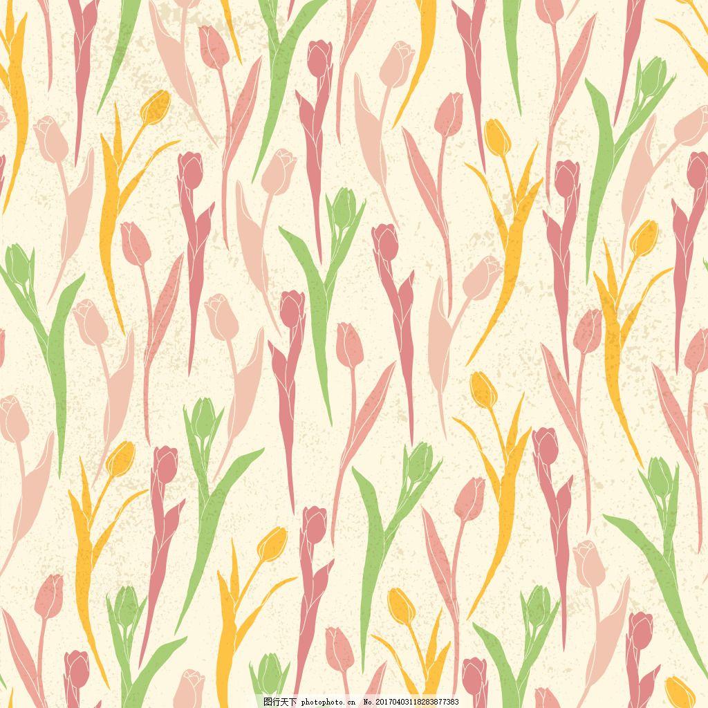 设计图库 底纹边框 广告背景  清新手绘花朵背景 背景素材 背景 小