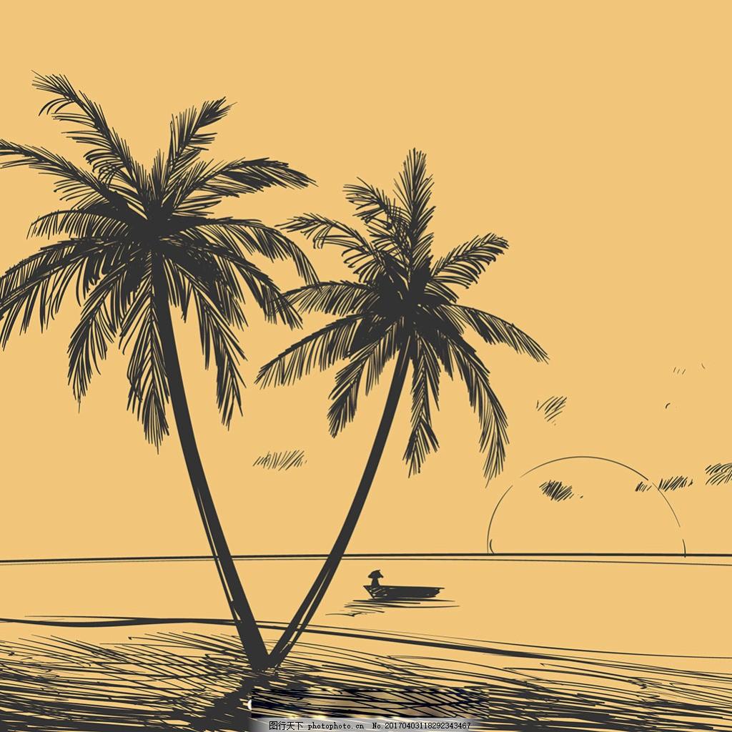 手绘棕榈树风景背景