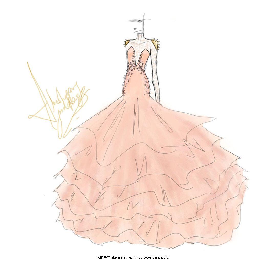 米色深v纱裙设计图 服装设计 时尚女装 职业女装 职业装 女装设计效果