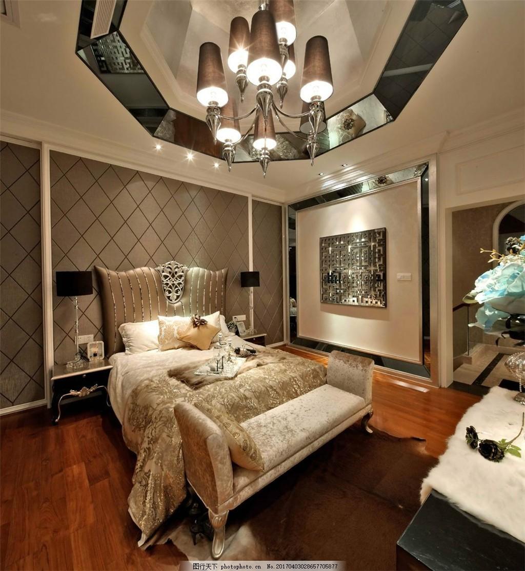 美式别墅卧室装修效果图 室内设计 家装效果图 美式装修效果图 时尚