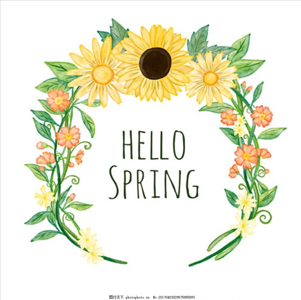 手绘水彩春季花环标题