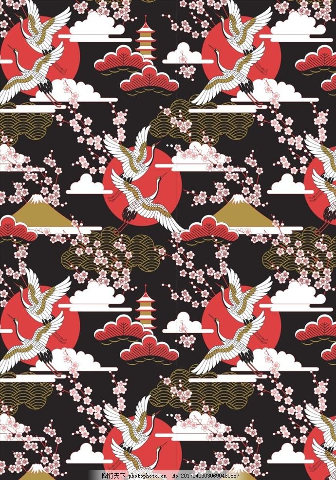 民族图案 民族风图案 民族风花纹 白鹤图案 飞鹤图案 富士山图案 动物