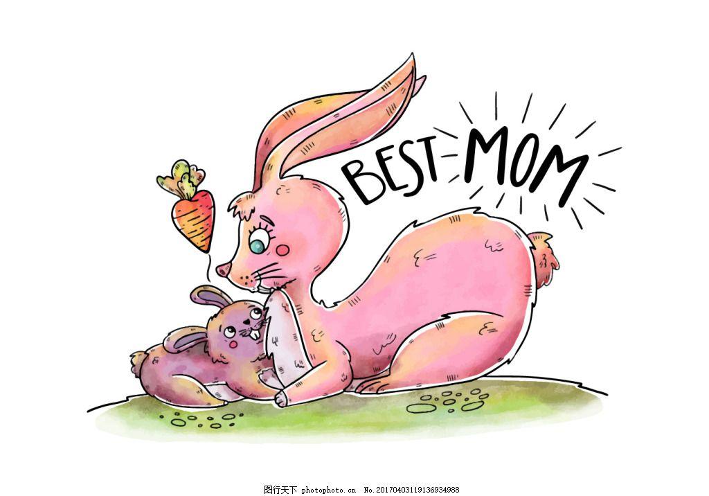 母亲节插画 母亲节 手绘动物 可爱 可爱插画 母亲 兔子 手绘兔子