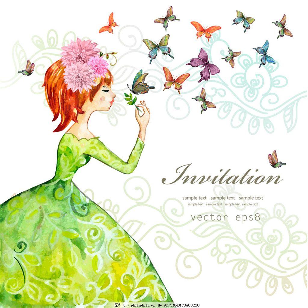 蝴蝶与卡通女孩图片
