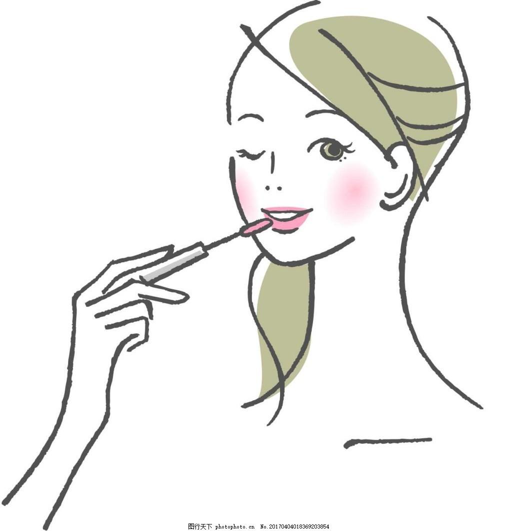 化妆的女生 手绘 人物