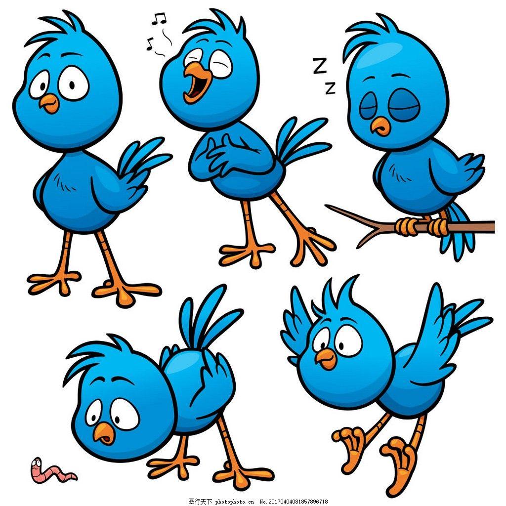唱歌的小鸟漫画 卡通动物 动物 矢量素材 矢量图 eps 小鸟 蓝色小鸟