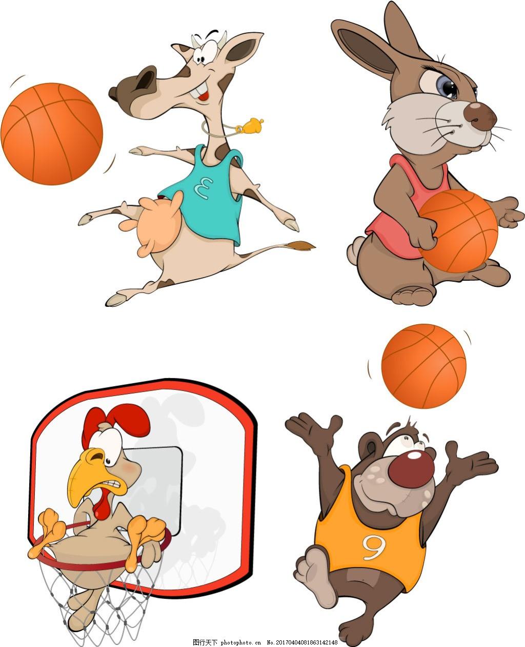 有趣的动物与篮球矢量素材
