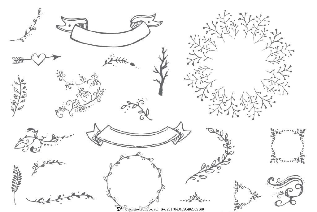 矢量 花草 曲线 花边 飘带 花框 边框 树叶 树枝 绿叶 叶子 黑白 线描