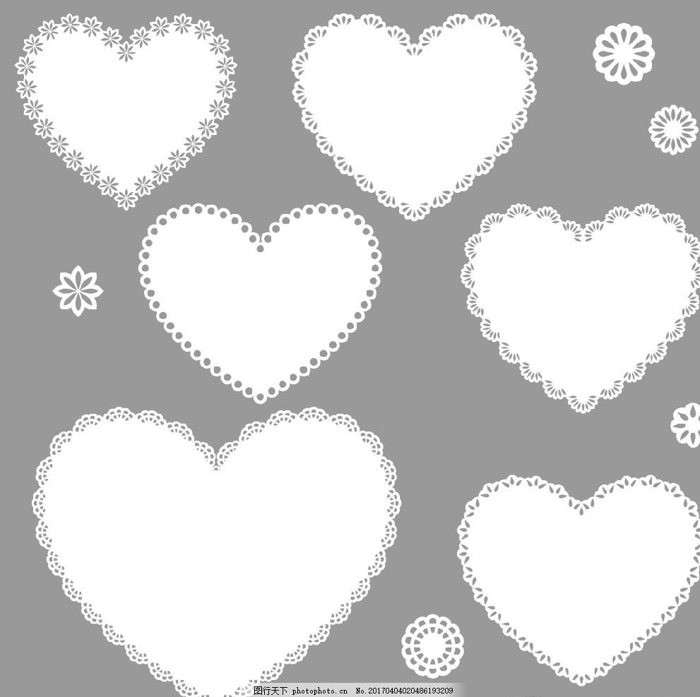 蕾丝爱心形边框 花边 对称 杯垫 雪花 浪漫 黑白 线条 线描