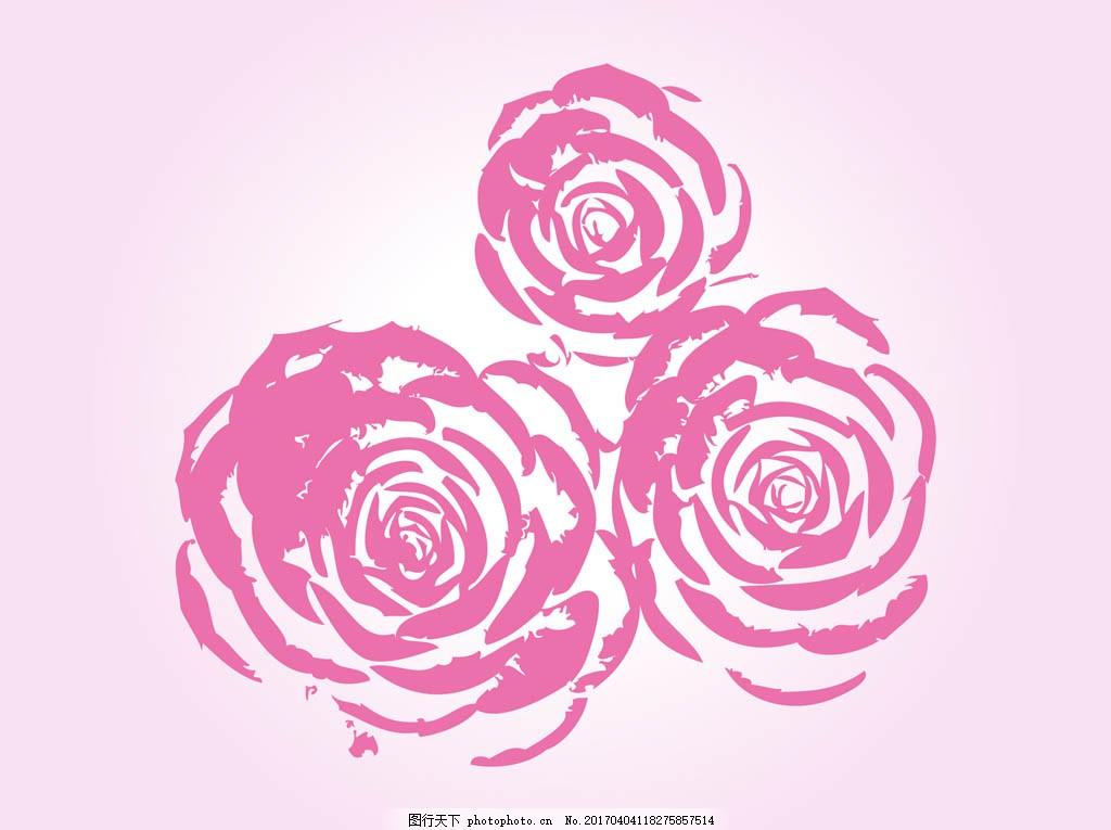 创意玫瑰花图案 手绘花卉 手绘植物 花卉花朵 花束 花朵图案 手绘玫瑰