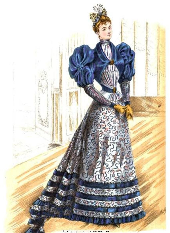 欧式泡泡袖长袖设计图 时尚女装 职业女装 女装设计效果图 服装图片