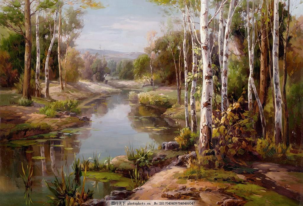 白桦林森林风景油画背景墙 树林 森林 大树 白桦树 风景 油画 高清 大