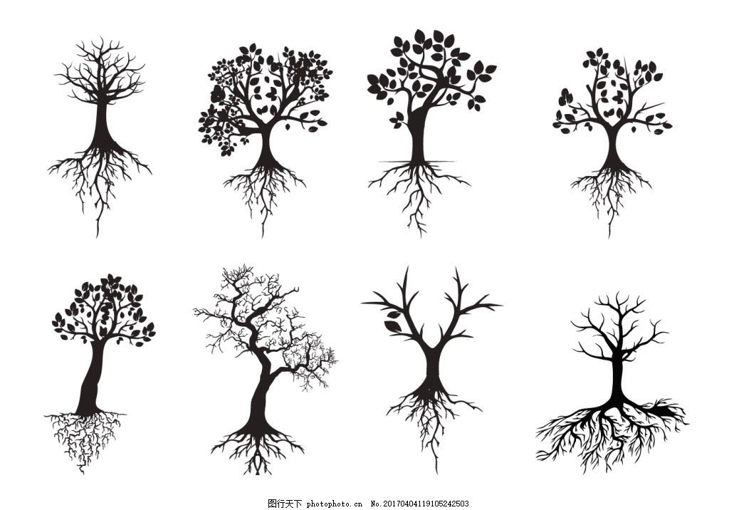 手绘矢量树木 手绘树木 矢量素材 手绘植物