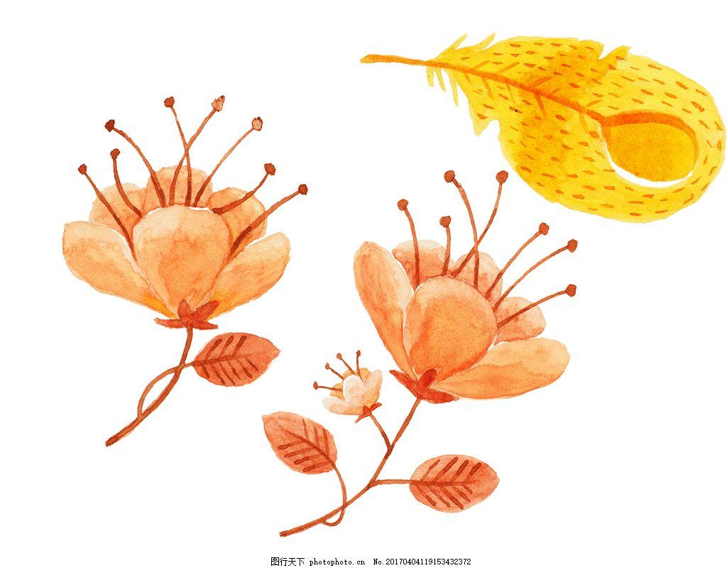 水彩彩铅树叶 水彩花卉 手绘花卉 花卉花朵 唯美花卉 水彩植物