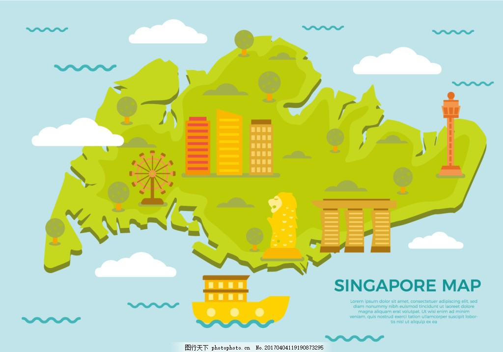 创意新加坡地图 新加坡地图 地图 地图素材 新加坡 手绘地图