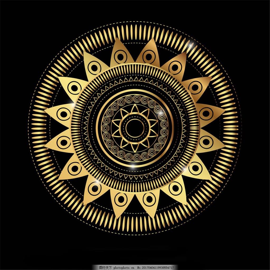 金色花纹圆环背景 古典边框 欧式花纹 欧式花边 欧式边框 精美花纹 时
