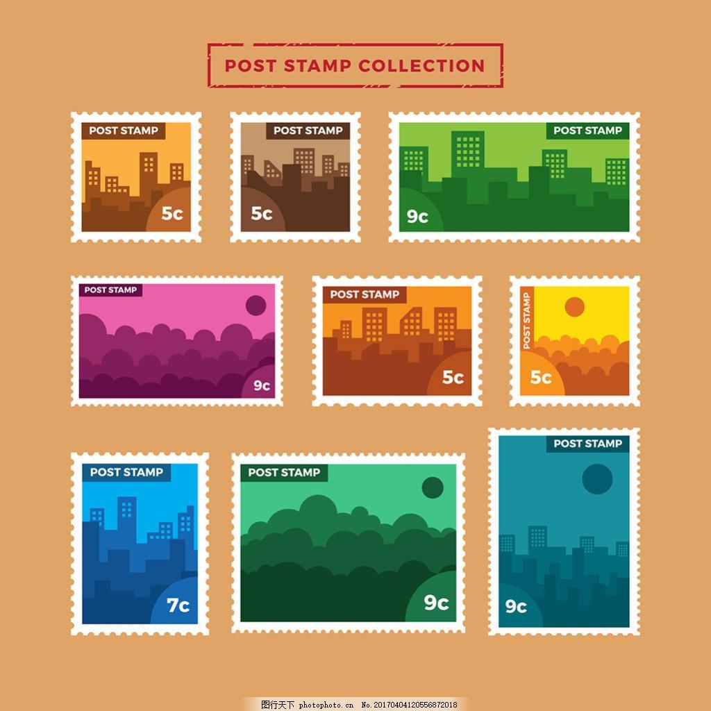 手绘建筑物背景彩色邮票