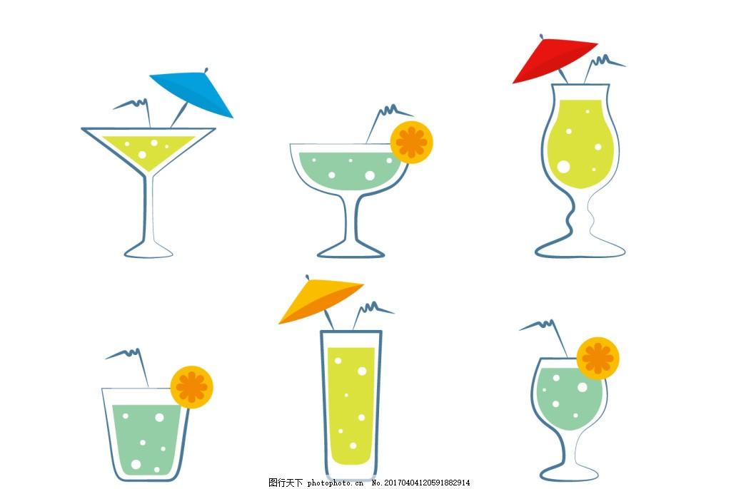扁平化饮料图标 手绘饮料 矢量素材
