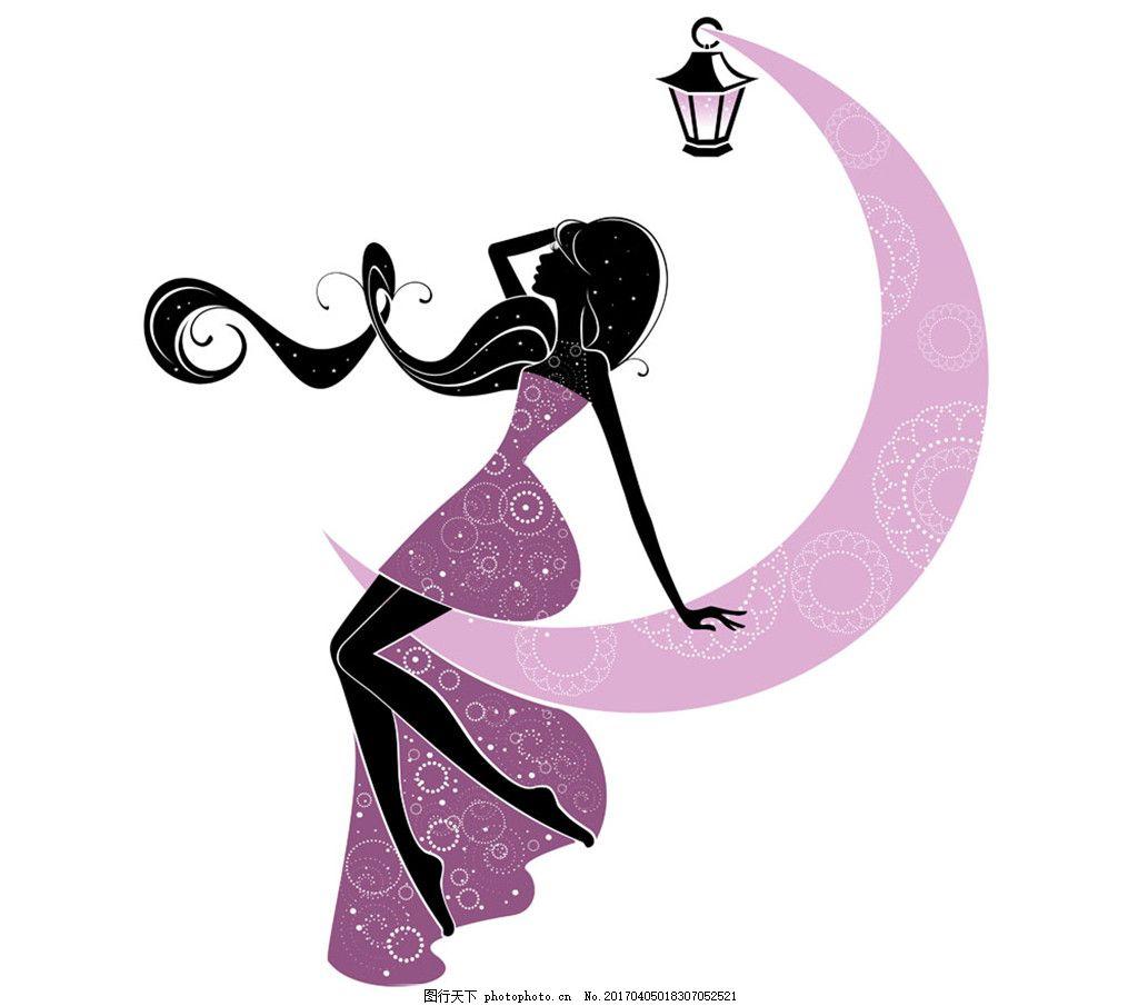 月亮上的卡通女孩图片