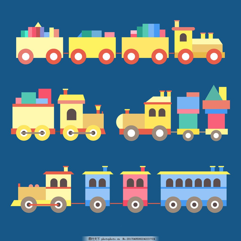 手绘彩色卡通玩具火车插图