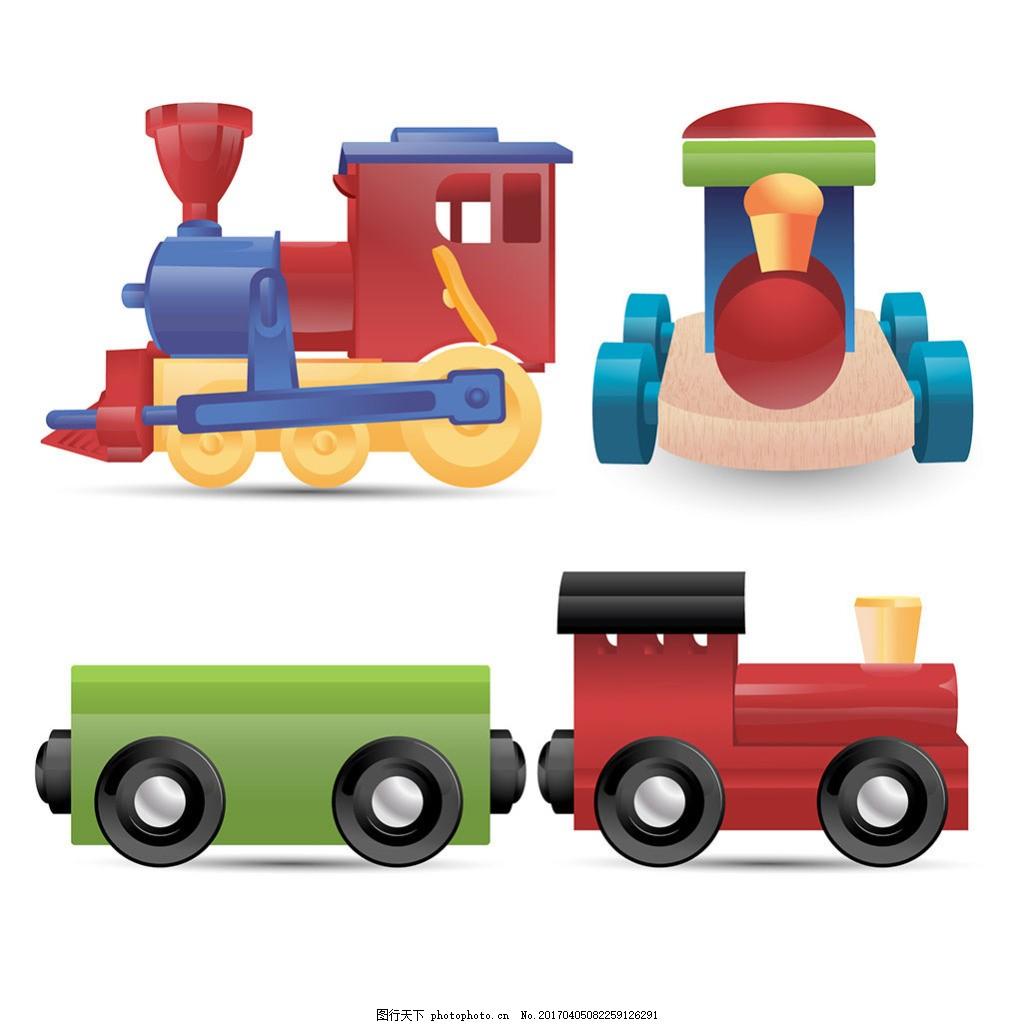 手绘卡通风格玩具火车