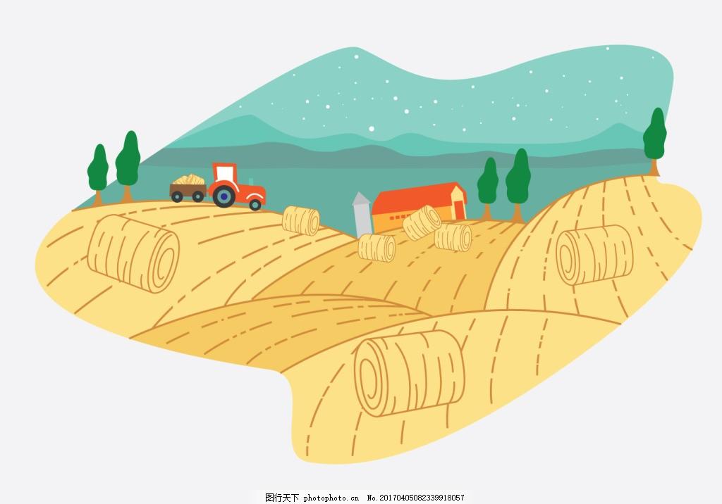 手绘创意稻田插画素材