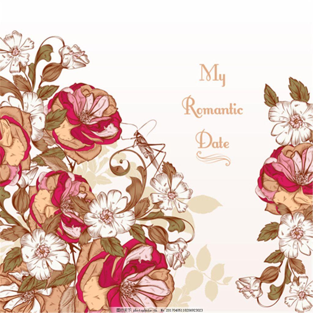 手绘复古玫瑰花图案矢量素材下载