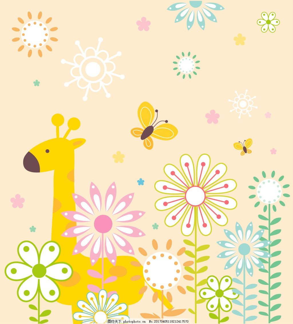 橙色小动物eps 植物动物清新底纹背景图片下载 植物 动物 清新底纹 树