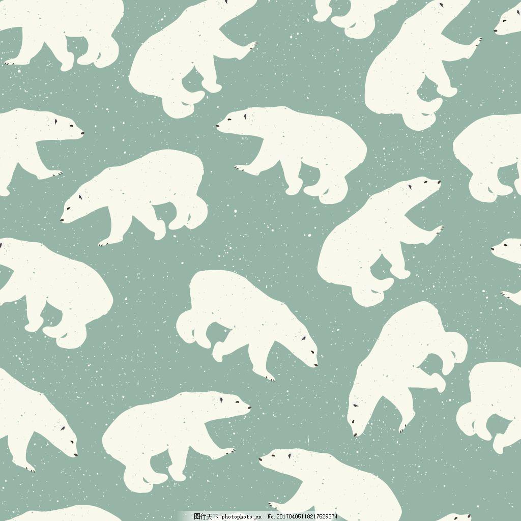 可爱北极熊背景素材 背景素材 背景 小清新 矢量素材 花纹背景 小清新