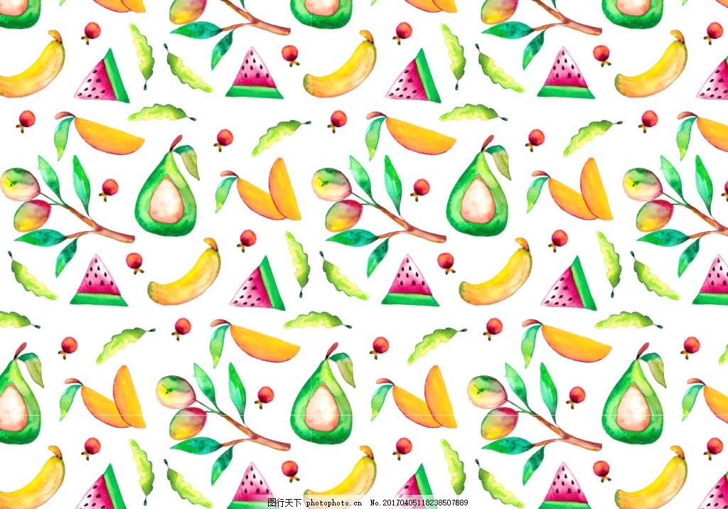 彩铅手绘水果矢量背景素材