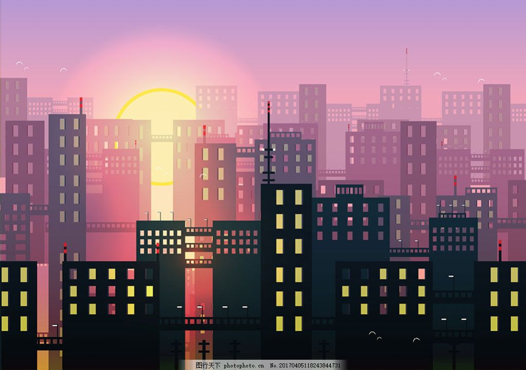 手绘城市天际线夕阳背景