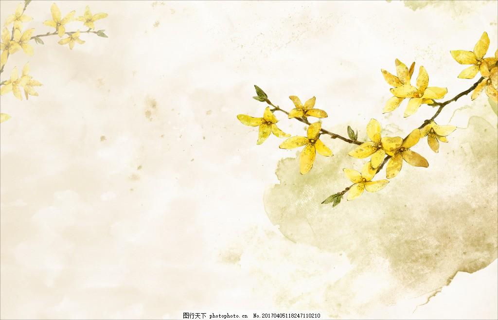 韩国手绘迎春花素材 韩国 手绘 黄花 文艺 小清新