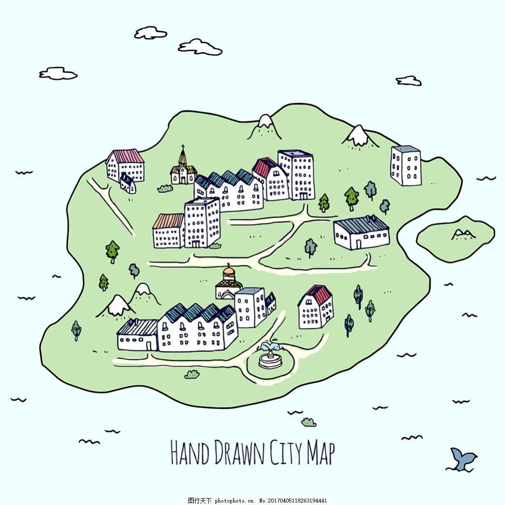 精致手绘城市地图矢量设计素材