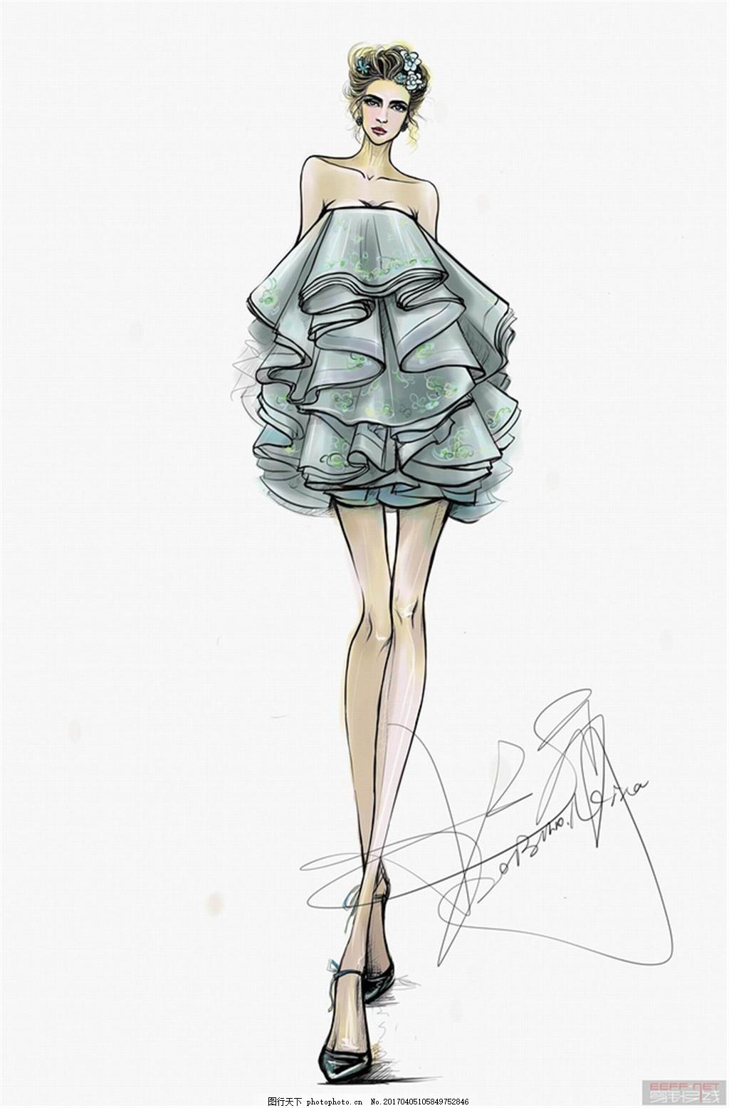 浅蓝色抹胸短裙设计图 服装设计 时尚女装 职业女装 职业装 女装设计