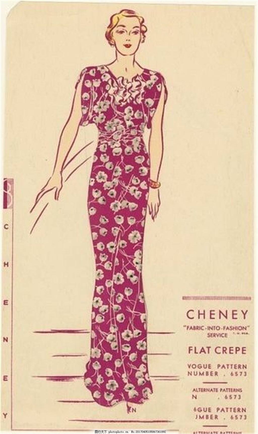 紫色欧式碎花裙设计图 时尚女装 职业女装 女装设计效果图 服装图片