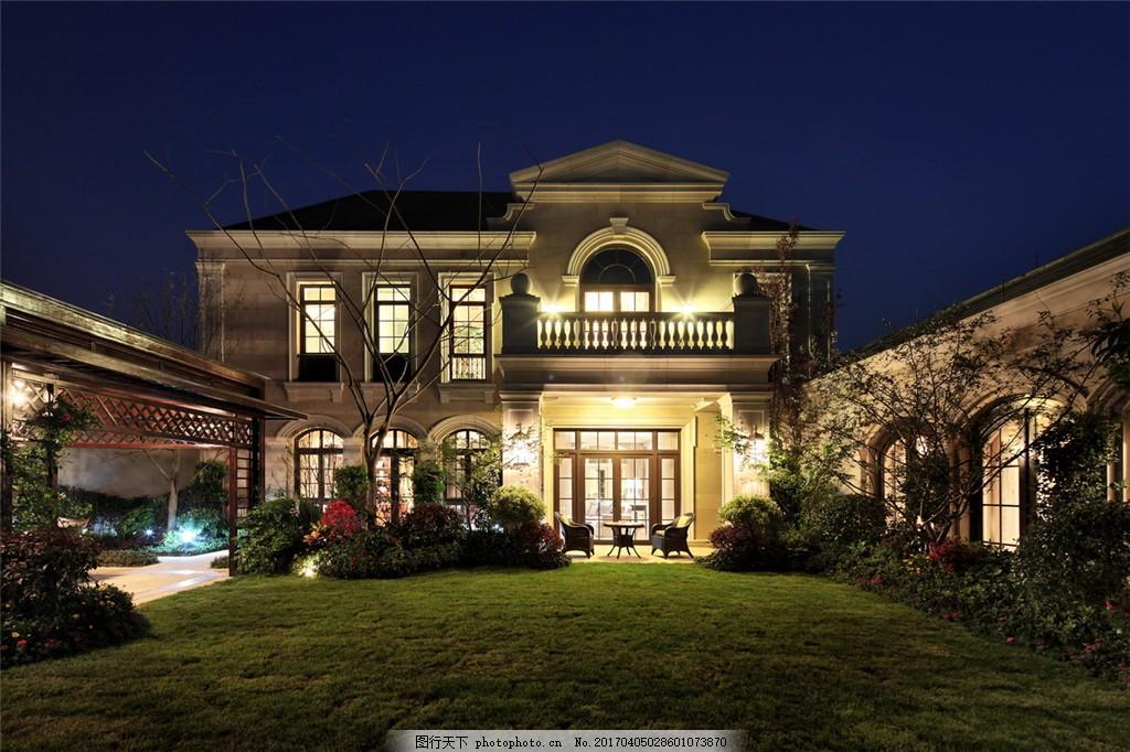 美式豪华别墅夜景