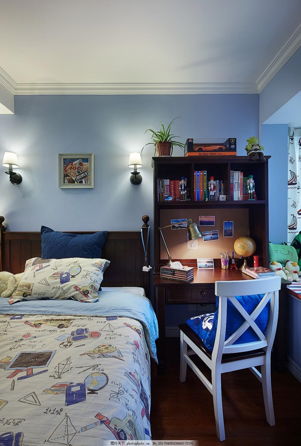 美式时尚卧室书桌设计图 家居 家居生活 室内设计 装修 室内 家具