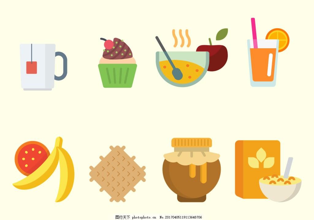 矢量手绘扁平早餐食物 手绘食物 矢量素材 美食 蛋糕 咖啡 饮料
