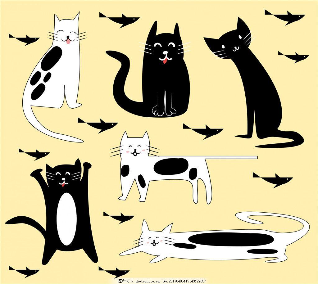可爱猫咪素材 小猫 矢量素材 卡通猫咪 手绘动物