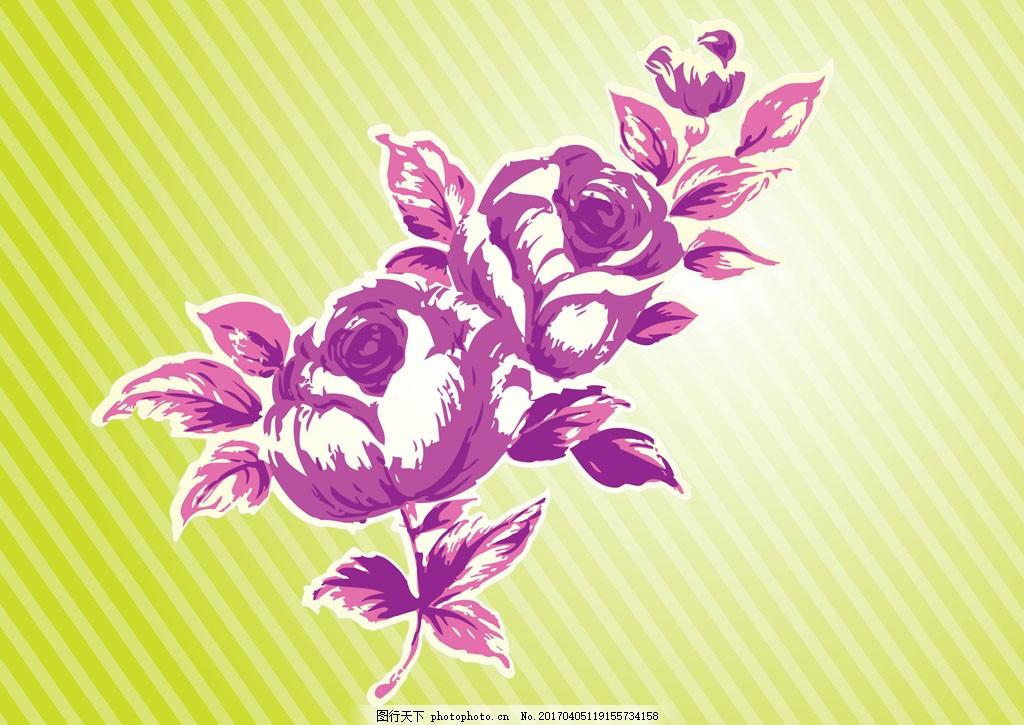 手绘唯美玫瑰 手绘花卉 手绘植物 花卉花朵 玫瑰花 花束 花朵图案