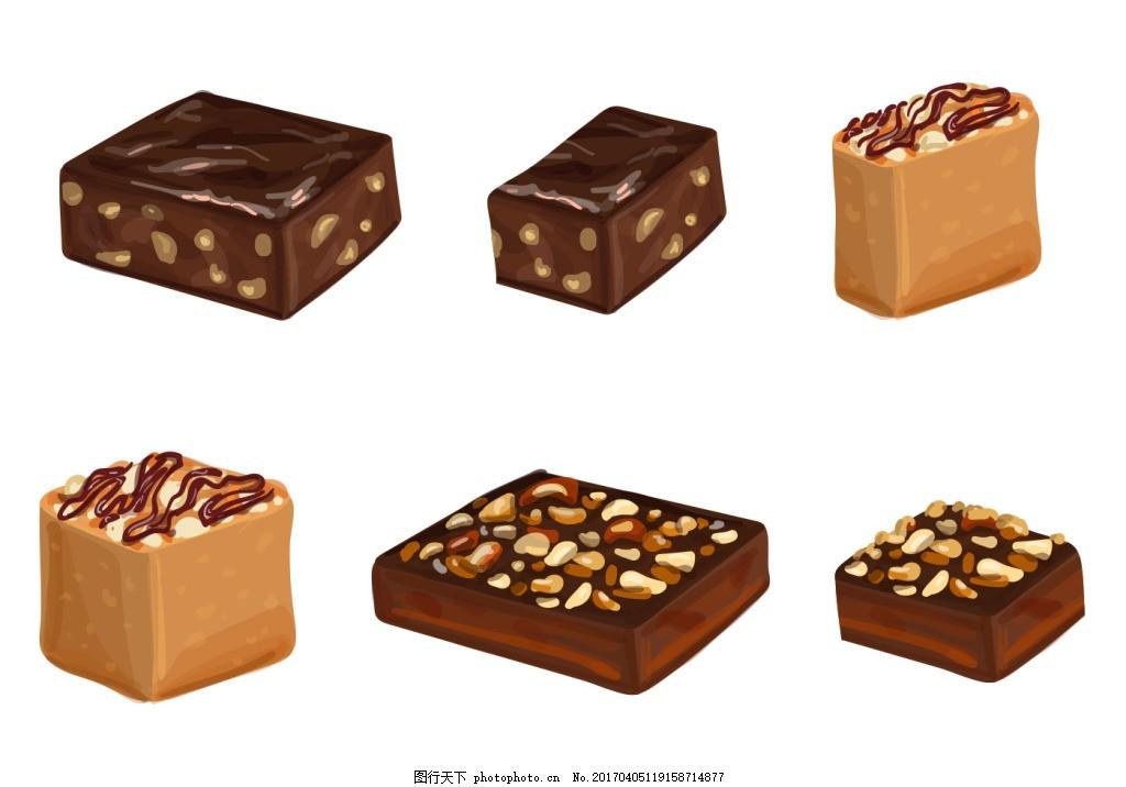 手绘蛋糕巧克力 甜品 手绘甜品 矢量素材 手绘食物 美食 矢量甜品