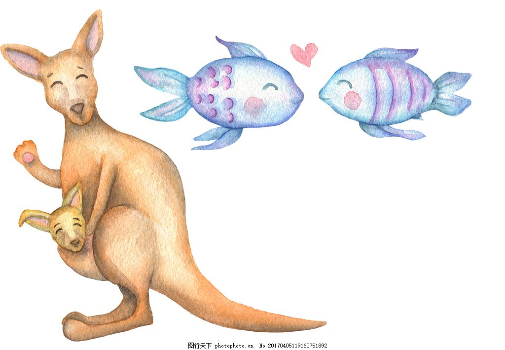 手绘可爱彩铅动物