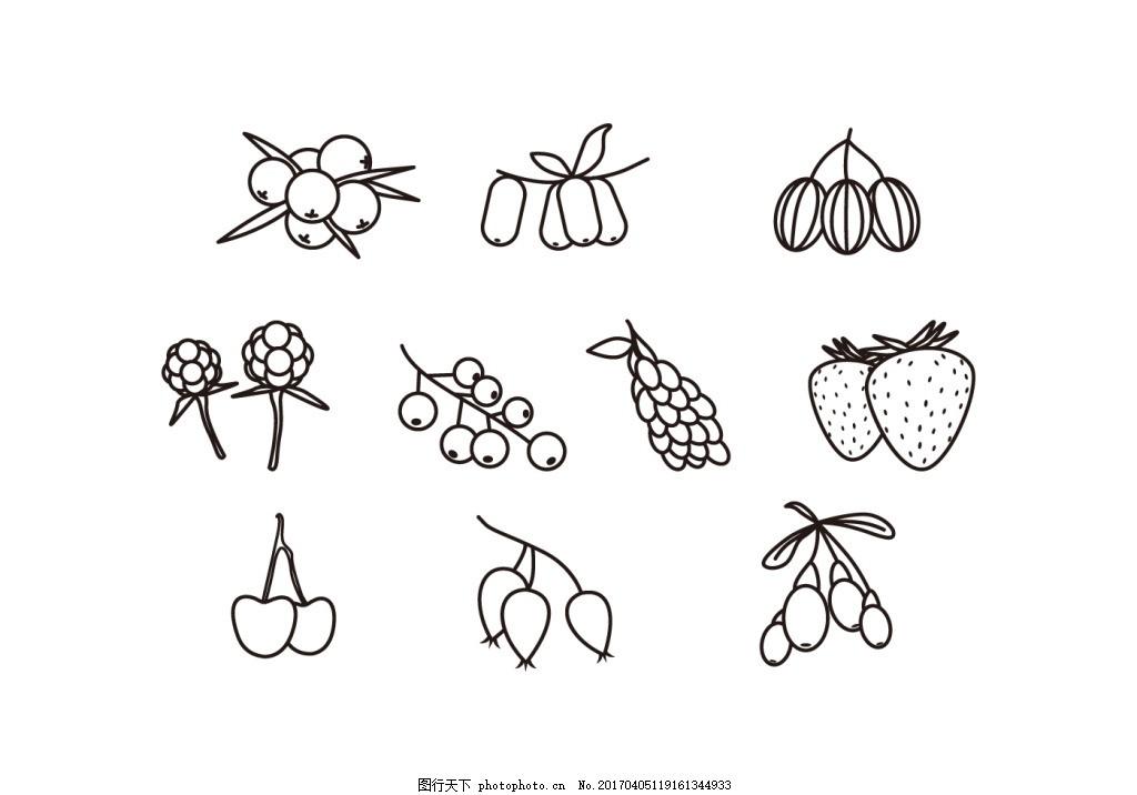 手绘线性水果果实素材 手绘水果 水果素材 水果 可爱水果 矢量素材