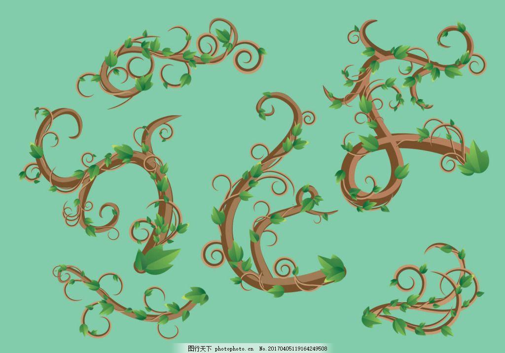 矢量藤蔓素材 背景素材 花纹背景 矢量素材 手绘植物 树叶